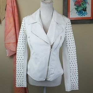 V Cristina White Vegan Leather Studded Moto Jacket